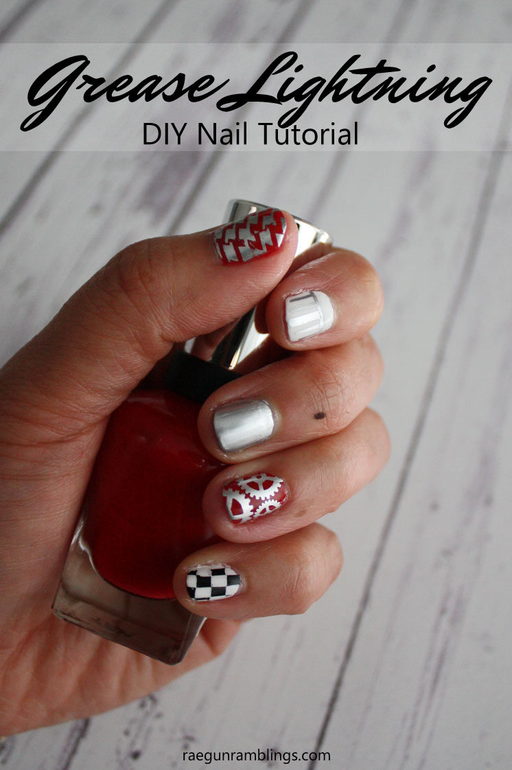 SO fun how to do a cute grease manicure. Easy nail tutorial.