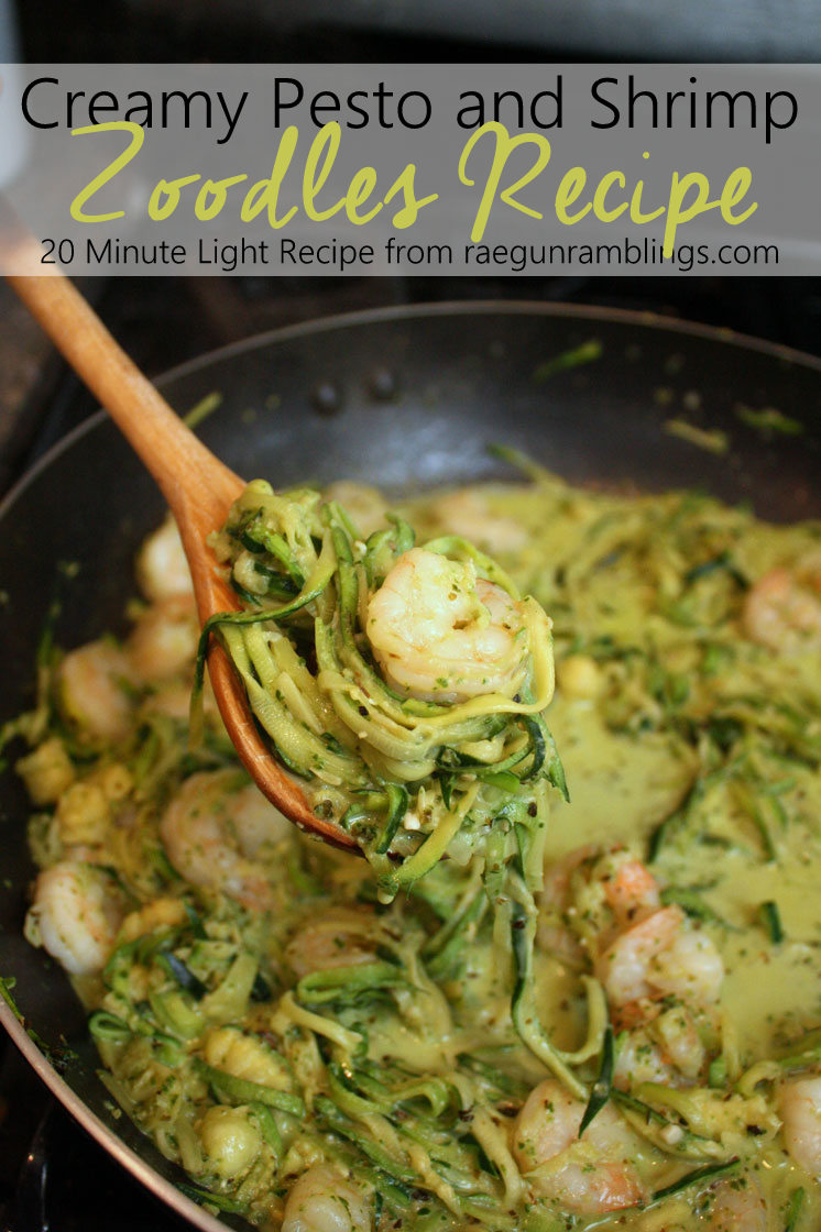 This is a keeper. Made it tonight and it's SO good. One pot zucchini noodle (zoodle) creamy pesto shrimp recipe. Fast so it's perfect for healthy light weekday dinners and tastes great.