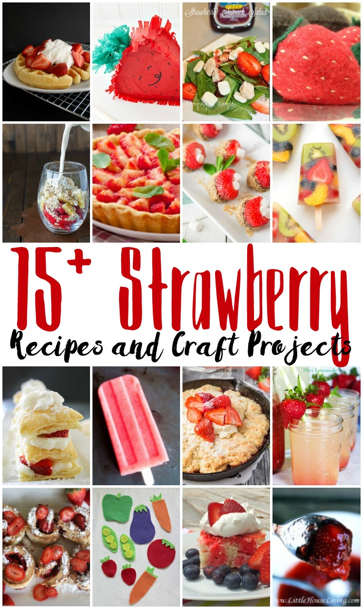 Fabulous collection of Strawberry Recipes. Great desserts and treats as well as cute crafts based on strawberries