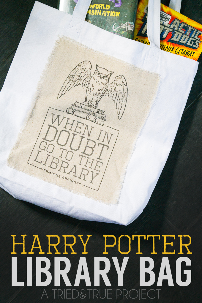 Harry-Potter-Library-Bag-When in DOubt go to the library quote and tutorial