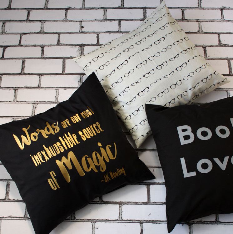 Awesome book nerd pillows. Love the J.K. Rowling quote! Words are our most inexhaustible source of magic