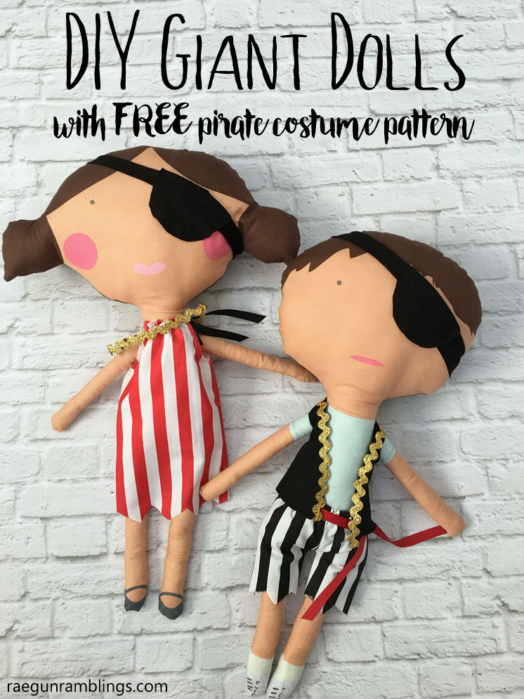 23 inch DIY giant dolls for boys and girls with free pirate costumes sewing patterns