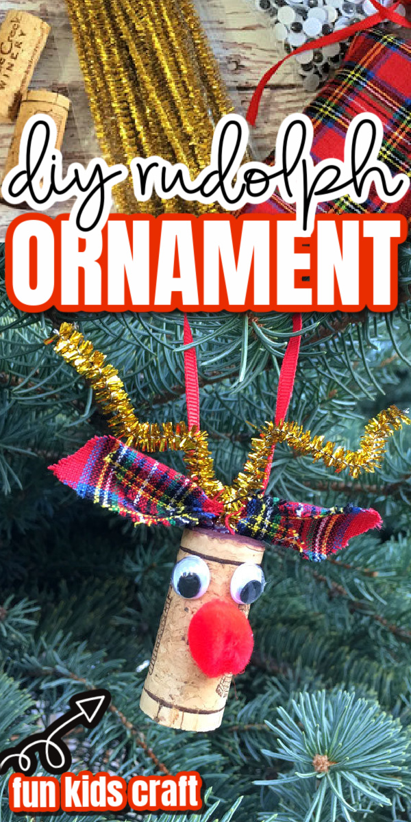 Turn basic crafting scraps and a leftover wine cork into a darling Rudolph the red nose reindeer christmas ornament. Such a simple ideas easy enough for a kids activity.