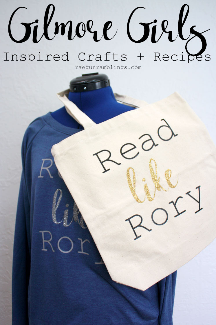 Celebrate Gilmore girls with lots of cute craft tutorials and reicpes including this Read Like Rory shirt and book bag