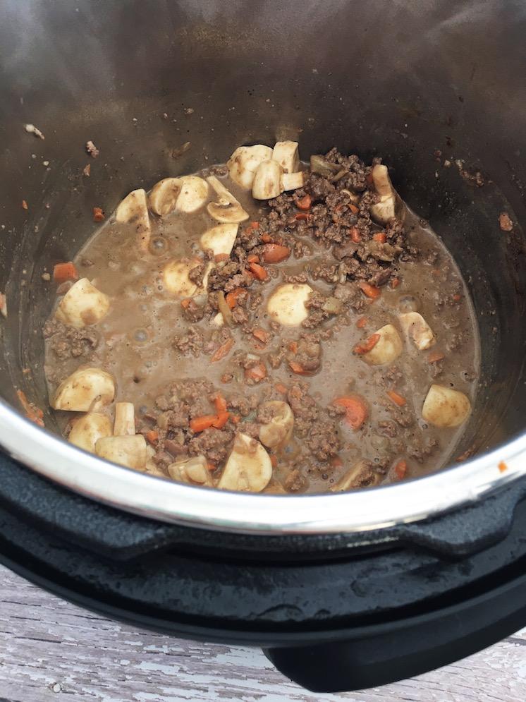 Shepherd's Pie Filling inside Instant pot
