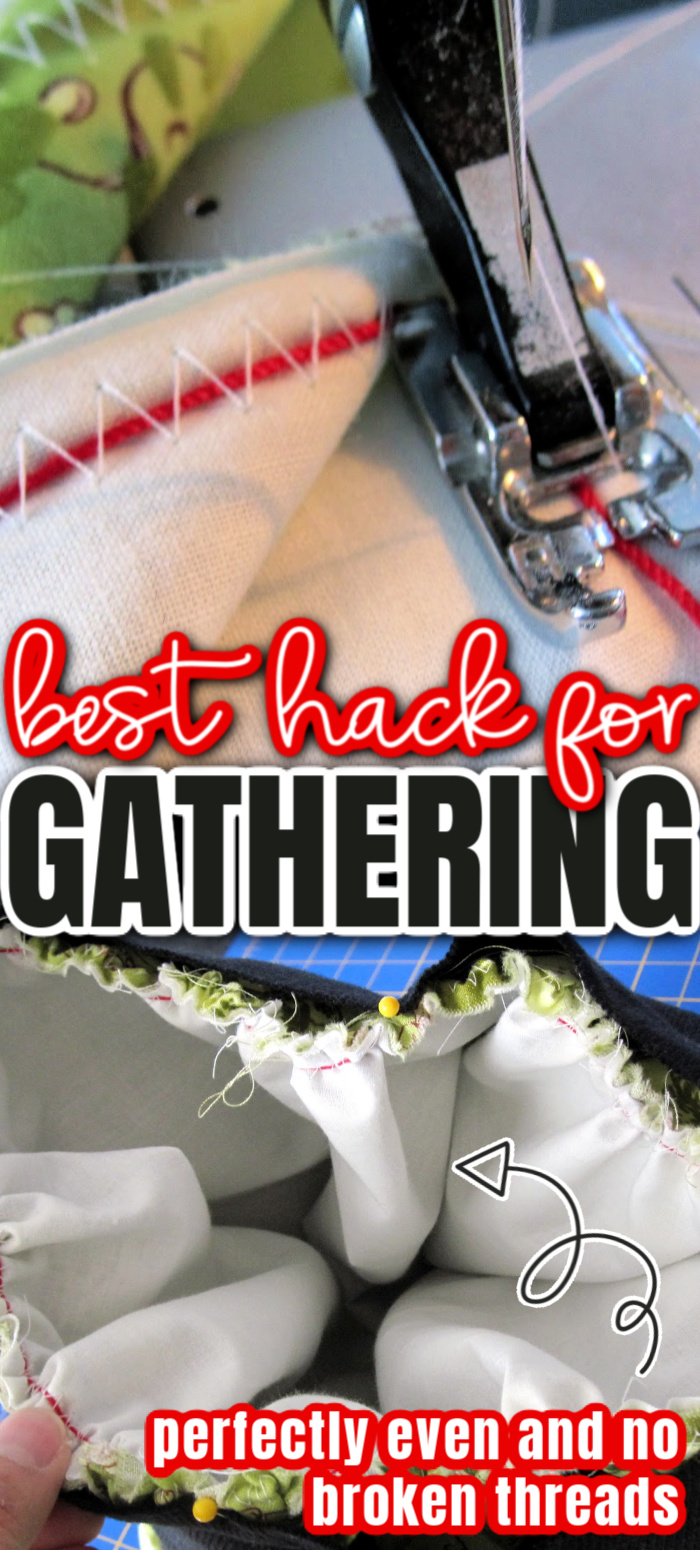 Awesome sewing hack for gathering. How to gather fabric so they are perfectly even and no popped stitches.