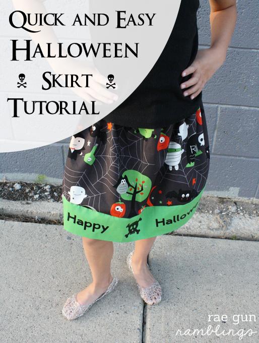 Halloween Skirt Tutorial great for beginners and how to use Iron-on Vinyl - Rae Gun Ramblings #diy #craft #halloween #cricut #sewing