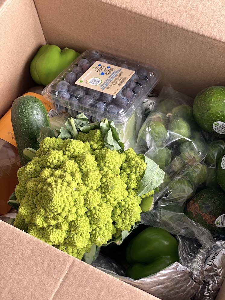 romanesco blueberries peppers in an imperfect box