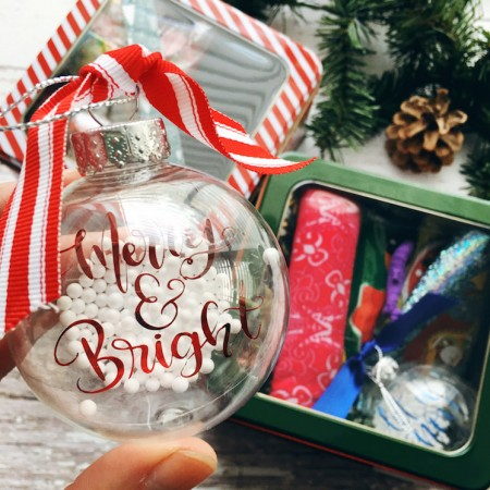 merry and bright ornament with gift box