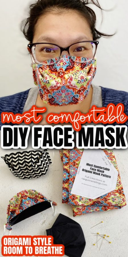 woman wearing box style face mask with origami mask pattern and fabric