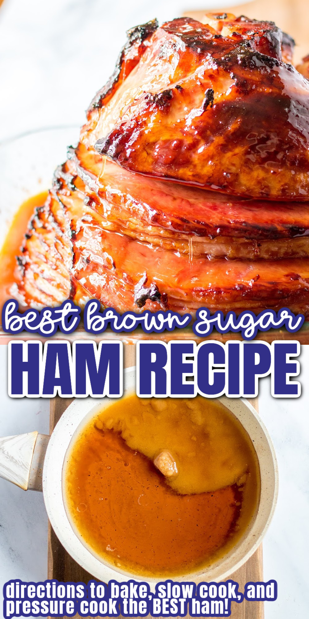 Easy instructions for slow cooker, Instant Pot and how to bake ham in the oven perfect for Easter Christmas or any special occasion. Brown sugar glaze recipe.