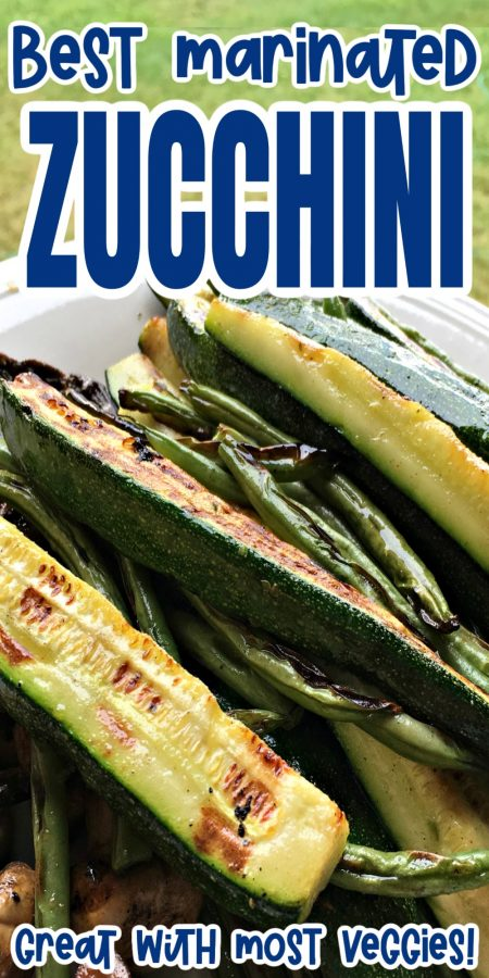 plate of grilled zucchini and green beans