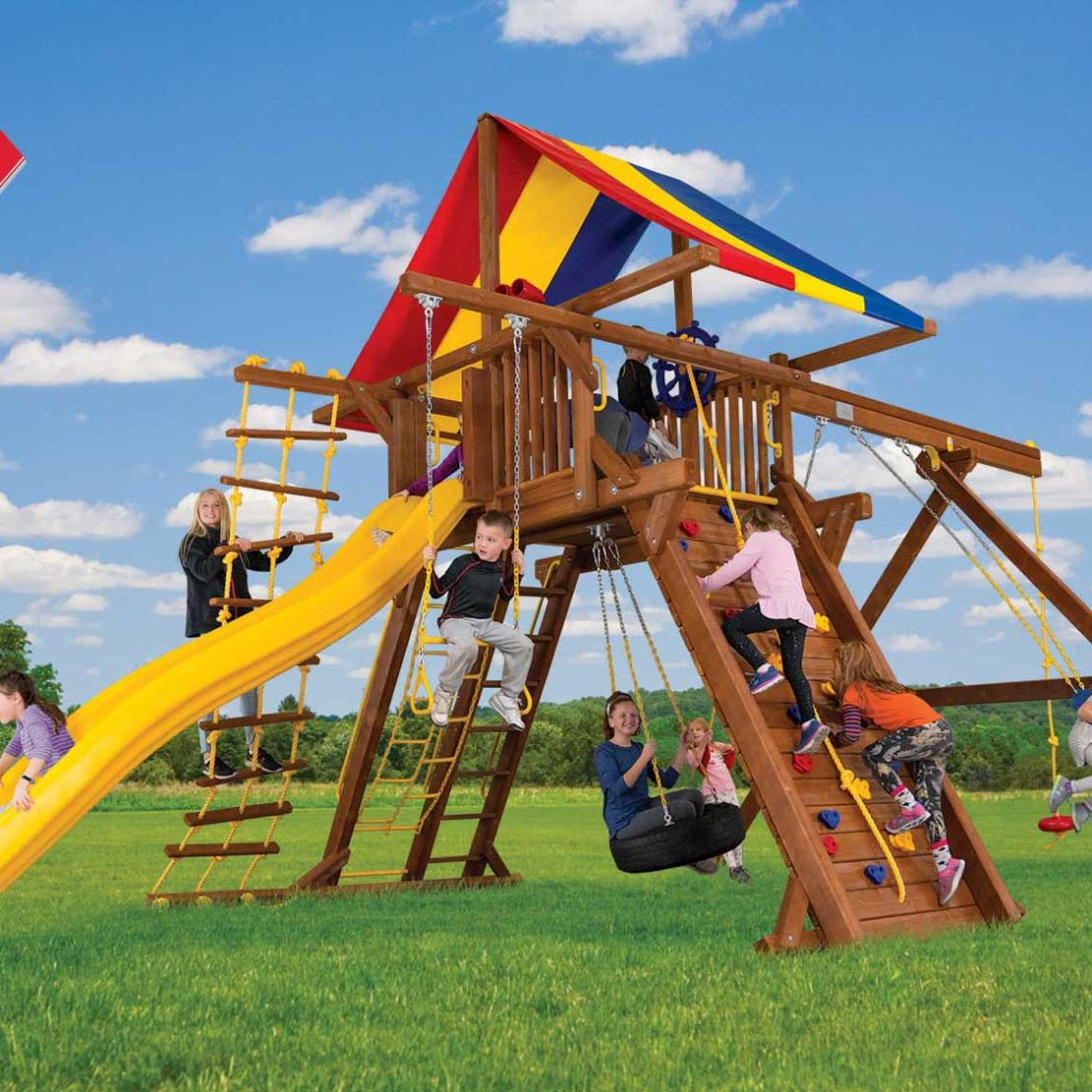 Rainbow Castle Swing Set Deck