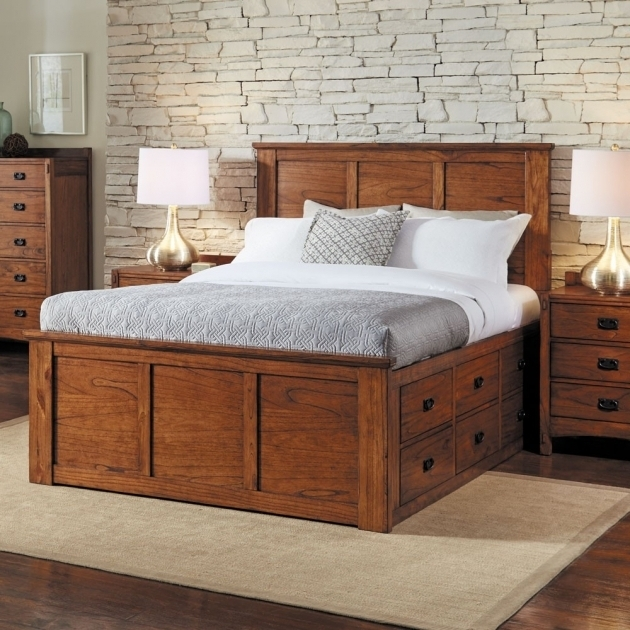 Gray King Size Platform Bed With Drawers And Bookcase