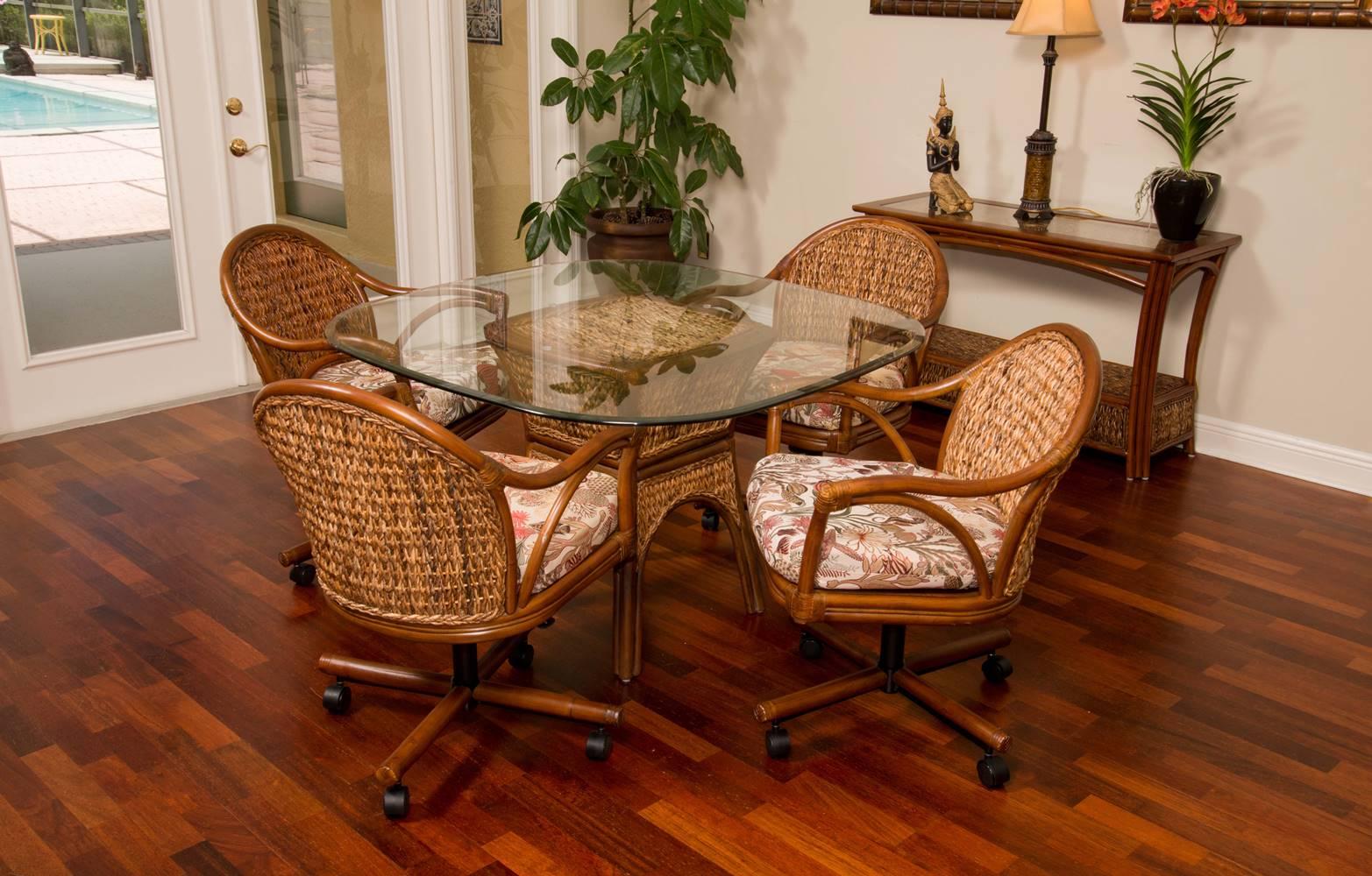 Panama Tilt Swivel Caster Chair Sienna Finish