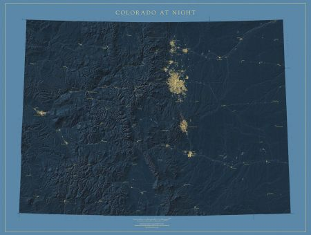 Colorado Nightviews Map   Fine Art Print Colorado at Night Map