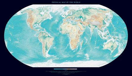Physical Map of the World  Black    Wall Maps Physical Map of the World Map  Black