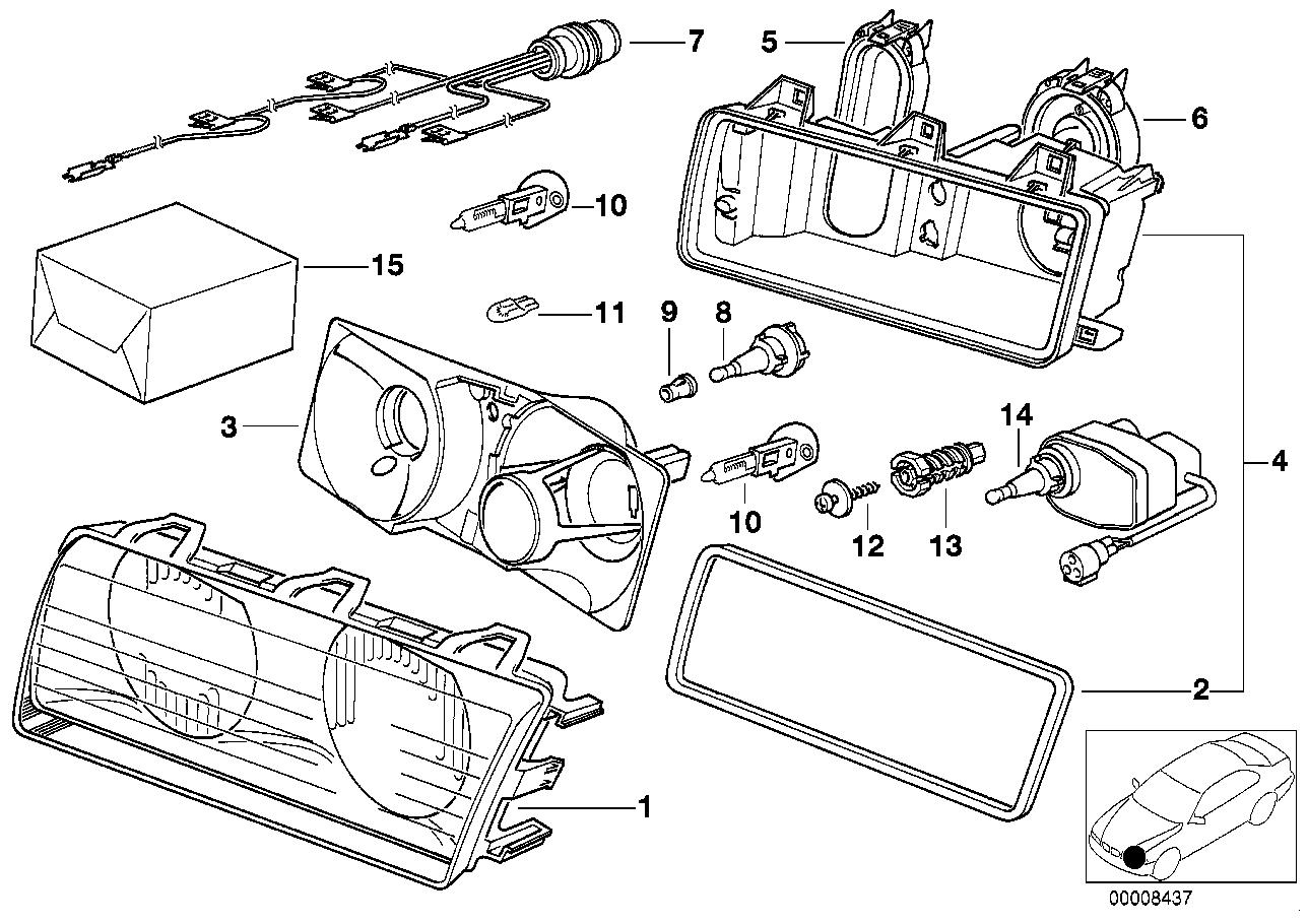 Realoem online bmw parts catalog single ponents for headlight bosch ponent diagram e36