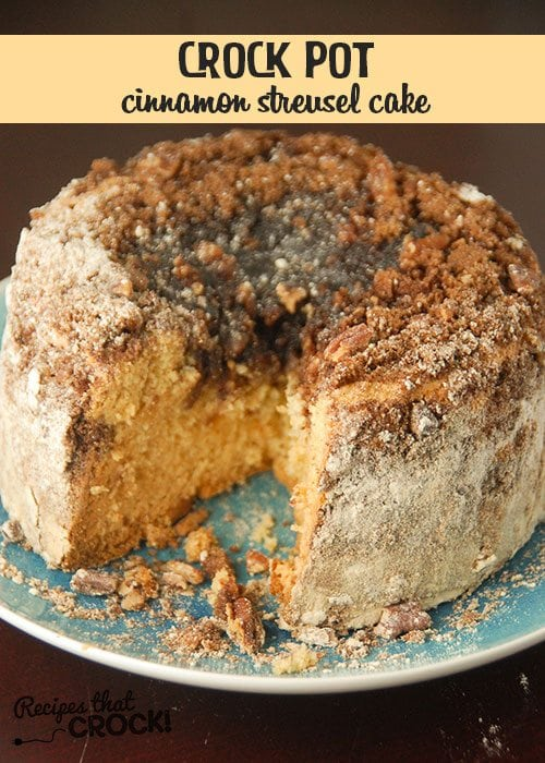 This Crock Pot Cinnamon Streusel Cake is easy, delicious and pretty!