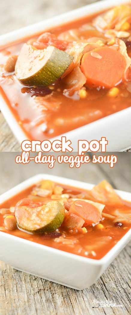 Are you looking for a great all day crock pot recipe? Our Crock Pot All Day Veggie Soup is a great  fix it and forget it meal. The leftovers freeze well and are a great go-to lunch if you freeze in individual portions.