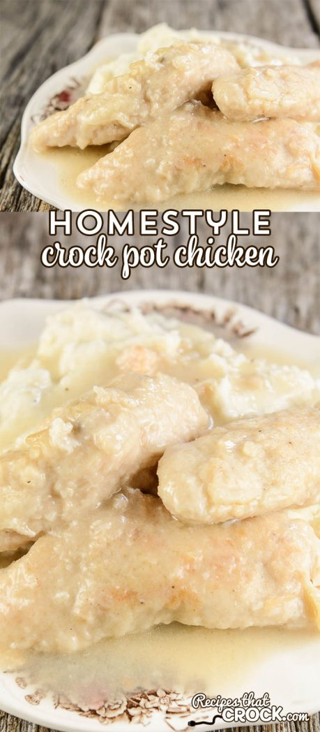 This delicious Homestyle Crock Pot Chicken is fork tender and flavorful. You won't believe how easy it is to put together! via @recipescrock