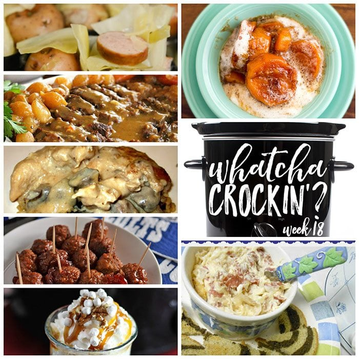This week's Whatcha Crockin' crock pot recipes include Slow Cooked Roast with Creamy Mushroom Gravy, Slow Cooker Cranberry Meatballs, Crock Pot Smoked Sausage, Cabbage and Potatoes, Cinnamon White Cocoa, Crock Pot Angel Chicken, Crock Pot Reuben Dip, Crock Pot Candied Sweet Potatoes and much more!