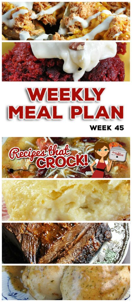 This week's weekly menu features Crock Pot Maple Beef Brisket, Crock Pot Mozzarella Stuffing, Crock Pot Shredded Beef Sandwiches (Virginia Style), Crock Pot Minestrone Soup, Slow Cooker Cajun Chicken, Crock Pot Dinner Rolls, Sweet Crock Pot Honey BBQ Hot Dogs, Crock Pot Cream Cheese Danish, Crock Pot Red Velvet Spoon Brownies and Crock Pot Buffalo Chicken Potato Skins!