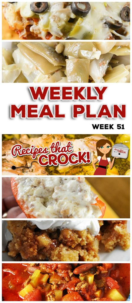This week's weekly menu features Crock Pot Mississippi Chicken Thighs, Crock Pot Spaghetti Squash and Cheese, Slow Cooker Ranch Pork Chops, Crock Pot Broccoli Cauliflower Casserole, Crock Pot Hamburger Soup, Easy Crock Pot Maple Whiskey Ribs, Crock Pot Bacon Green Bean Cabbage, Crock Pot Pizza Bake, Crock Pot Mini Cream Cheese Stuffed Peppers, Slow Cooker Pumpkin Butter and Crock Pot Apple Coffee Cake.