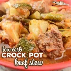 Are you eating low carb and missing beef stew? Our Slow Cooker Beef Stew (Low Carb) Recipe is so good even the carb lovers at your table will love it! #CrockPot #LowCarb #ComfortFood #Beef