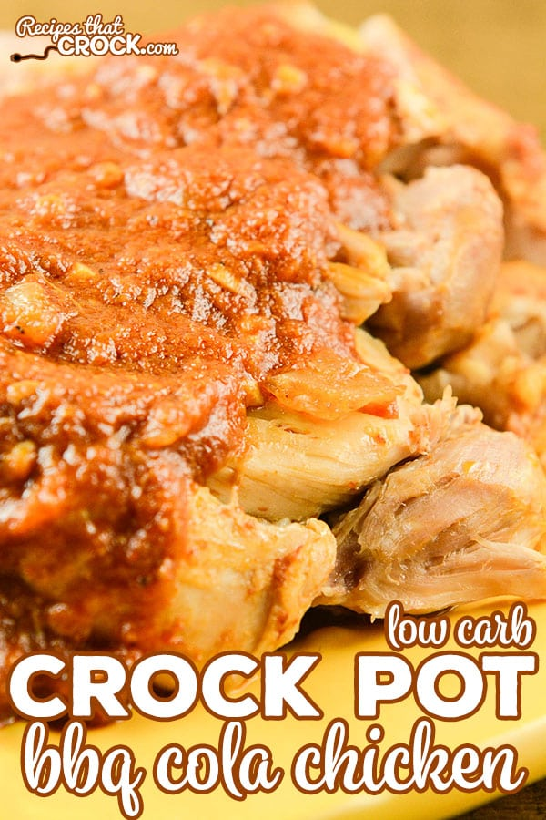 We LOVE this Crock Pot BBQ Cola Chicken! This smoky bbq is an amazing low carb main dish and is also great on salads and in sandwiches and wraps. And, it is freezer friendly! #CrockPot #CrockPotRecipe #LowCarb #LowCarbRecipe #Keto #KetoDiet #LCHF #ChickenRecipe