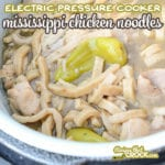 Are you looking for recipes for your Ninja Foodi, Instant Pot or Crock Pot Express electric pressure cookers? Our Electric Pressure Cooker Mississippi Chicken Noodles recipe is a super simple comfort dish ready in minutes!