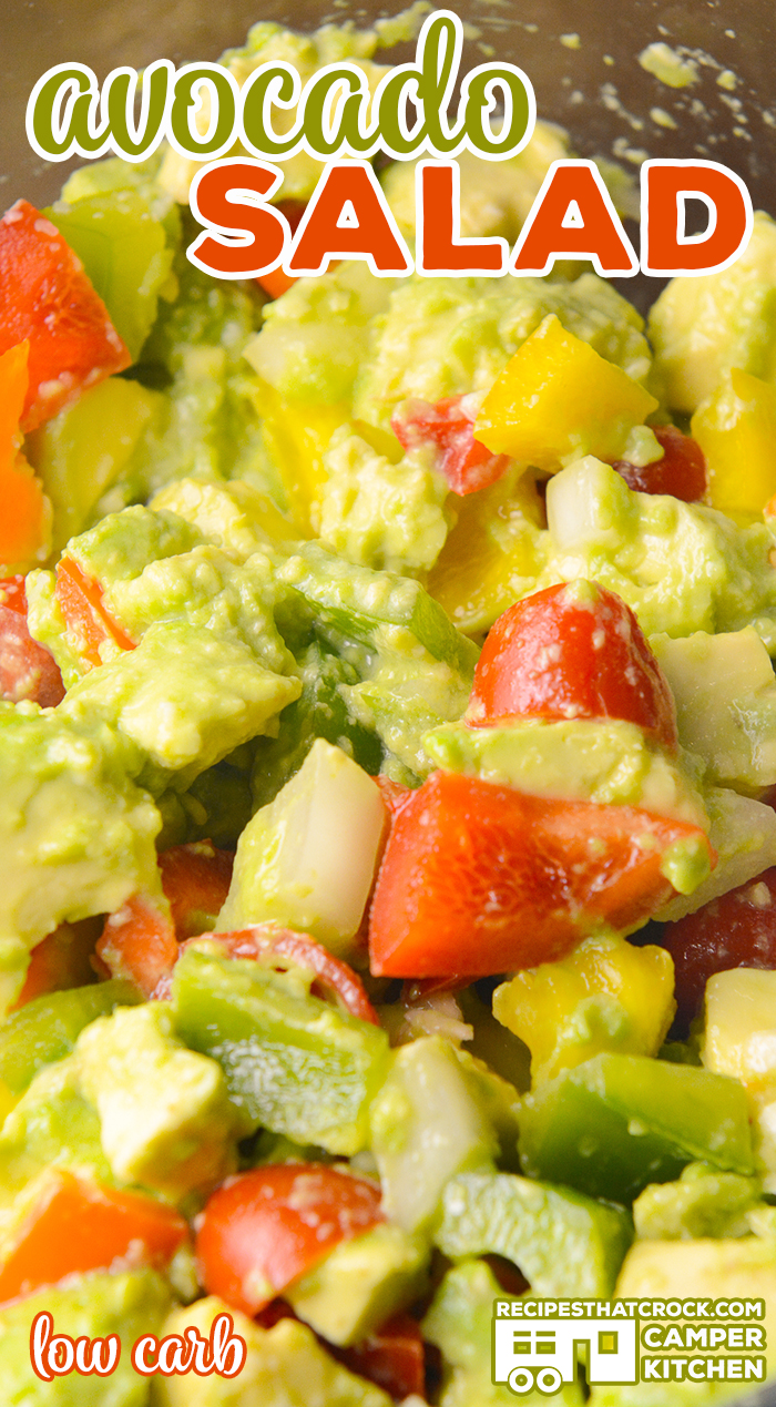 Our Avocado Salad recipe is a great low carb side dish with creamy avocados, sweet grape tomatoes, bright bell peppers and onion. We absolutely love this served up with grilled chicken, steak or shrimp! via @recipescrock