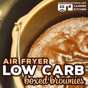Are you looking for a low carb boxed brownie mix? This Air Fryer Low Carb Boxed Brownie Recipe shares our favorite box mix. I love the flavor and texture of this brownie. It doesn't taste like a fake brownie and it doesn't have a sugar-free after-taste.