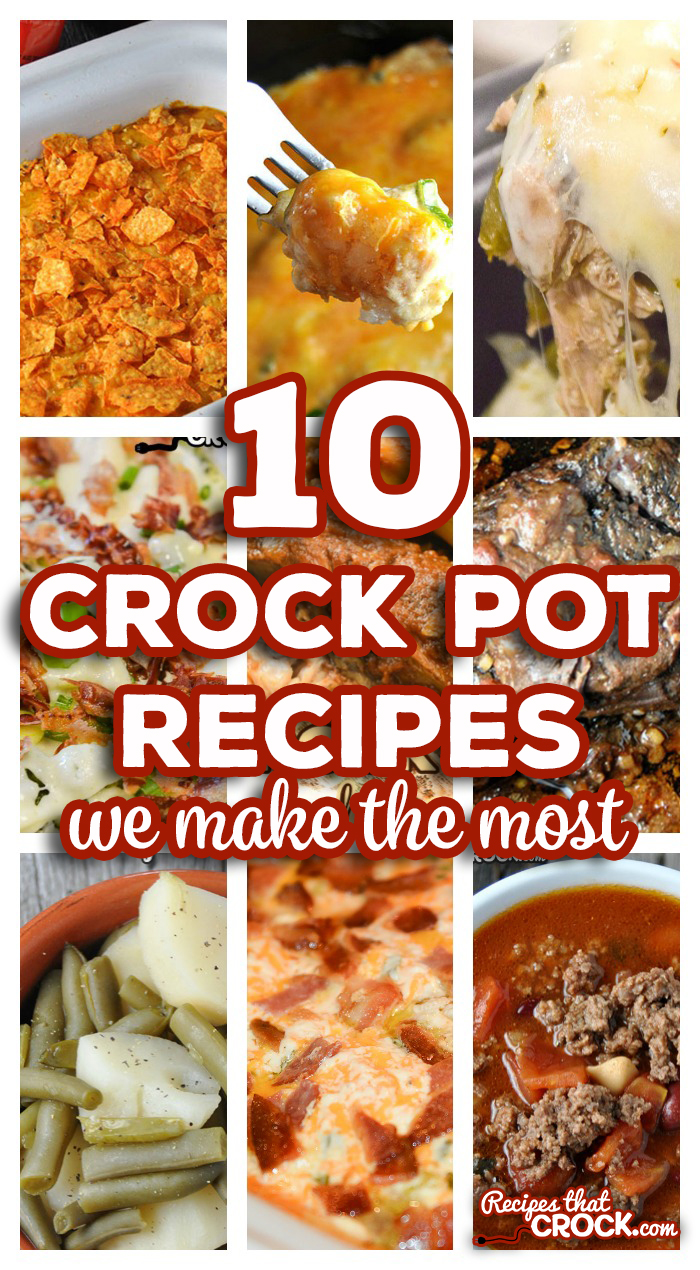 Are you looking for tried and true crock pot recipes that won't fail you in the kitchen? We literally try hundreds of new slow cooker recipes every year and THESE are the 10 crock pot recipes we make the most for our families. via @recipescrock