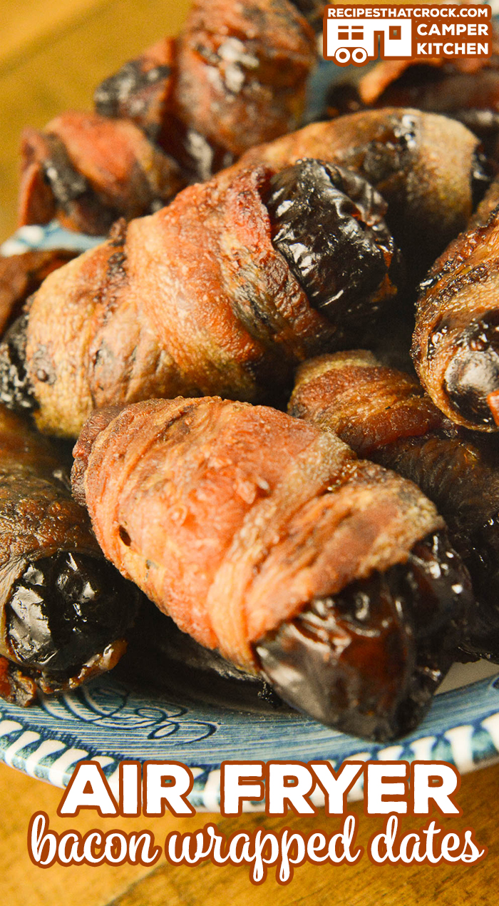 Our Air Fryer Bacon Wrapped Dates are an easy flavorful appetizer you can make in your air fryer or Ninja Foodi using the air crisp feature. via @recipescrock