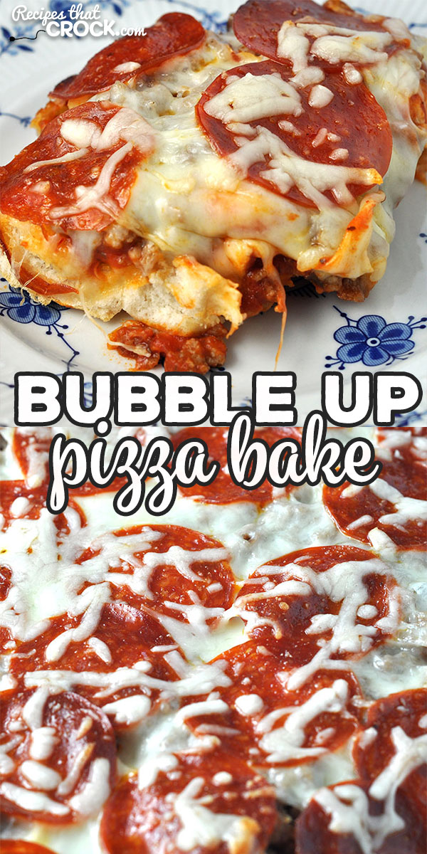 This Bubble Up Pizza Bake is the oven version of our Crock Pot Pizza Bake. It is a delicious and easy way to have homemade pizza on chaotic night! via @recipescrock