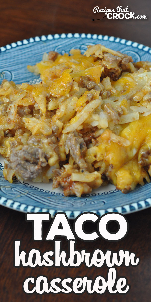 Do you need a quick and easy recipe you can have done in a half hour? This Taco Hashbrown Casserole recipe for your oven is just that and delicious to boot! via @recipescrock