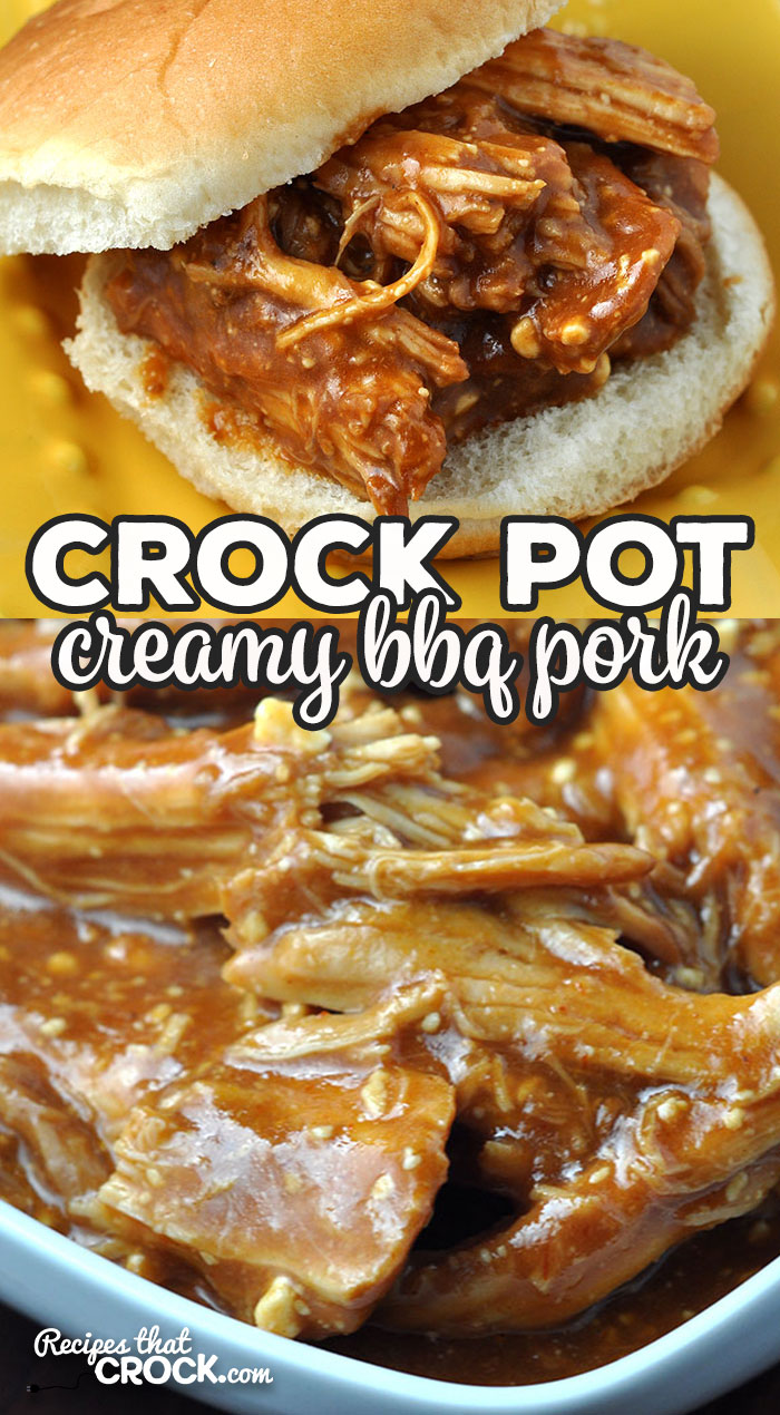This Crock Pot Creamy BBQ Pork only has 3 ingredients and is so delicious! You can serve it on buns, on its own or however you like!  via @recipescrock