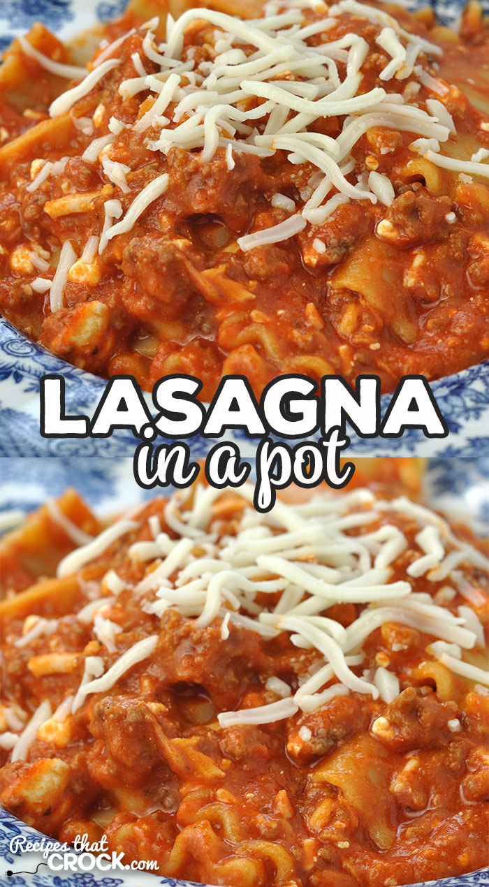 Need a quick and easy dinner idea? Check out this Lasagna in a Pot stove top recipe that will be filling your family up in a hurry! via @recipescrock