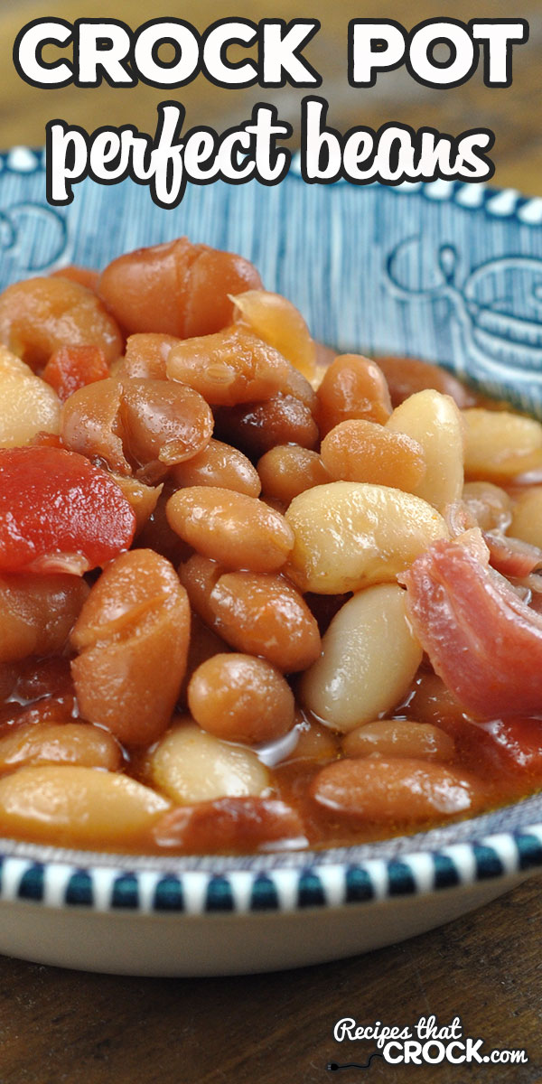 These Perfect Crock Pot Beans not only have the perfect flavor, they are perfectly easy to make as well! This dump and go recipe is sure to be a family favorite! via @recipescrock