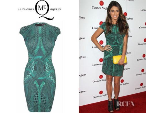Nikki Reed s McQ Alexander McQueen Cable Print Cap Sleeve Dress     Who