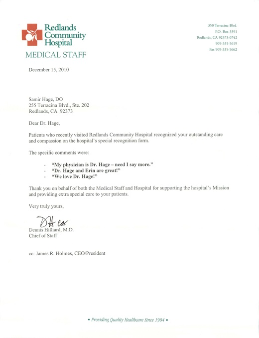 Doctors Community Hospital Letter