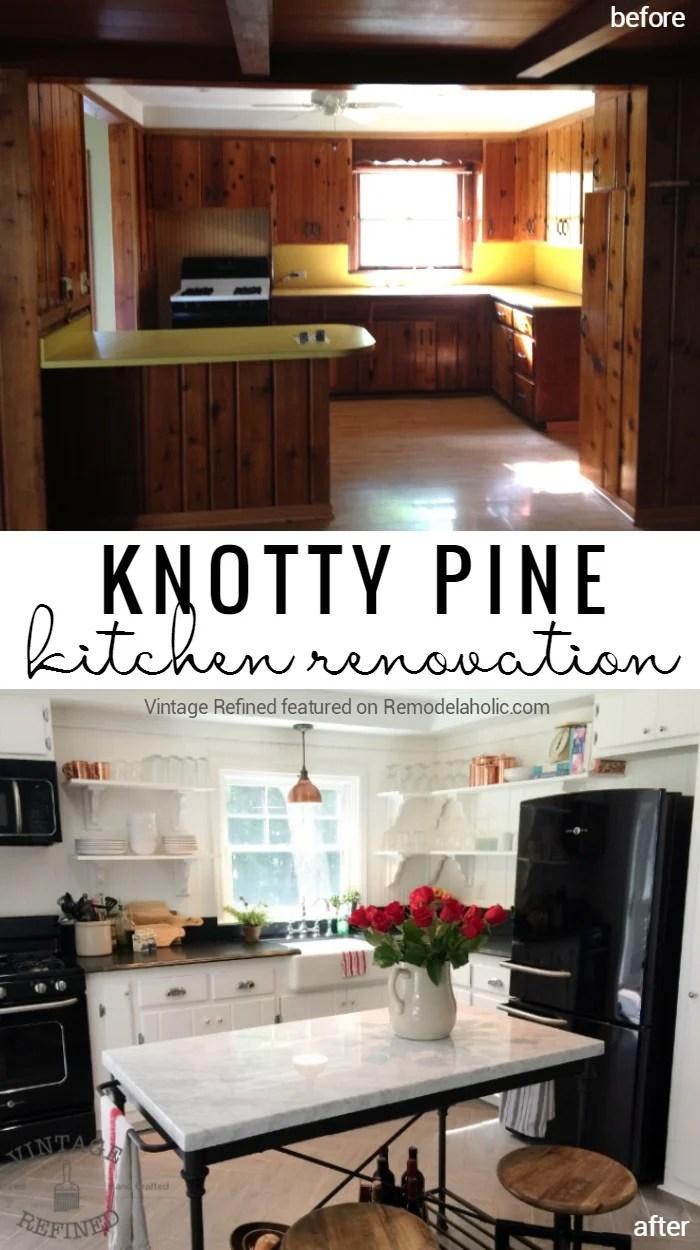 Best Kitchen Gallery: Kitchen Renovation Updating Knotty Pine Cabi S Remodelaholic of Knotty Pine Kitchen Curtains on rachelxblog.com