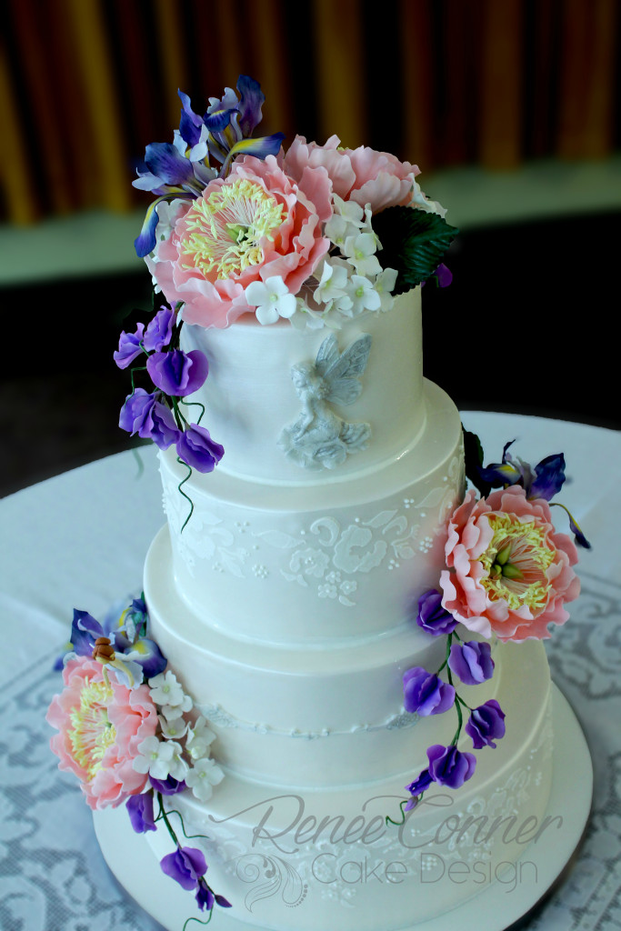 Renee Conner Cake Design     Sophisticated custom cakes Fairies  Flowers   Lace Cake 1W
