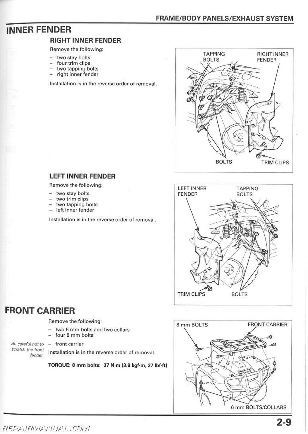 Wiring Diagram For Honda 2005 Recon 250 Fender