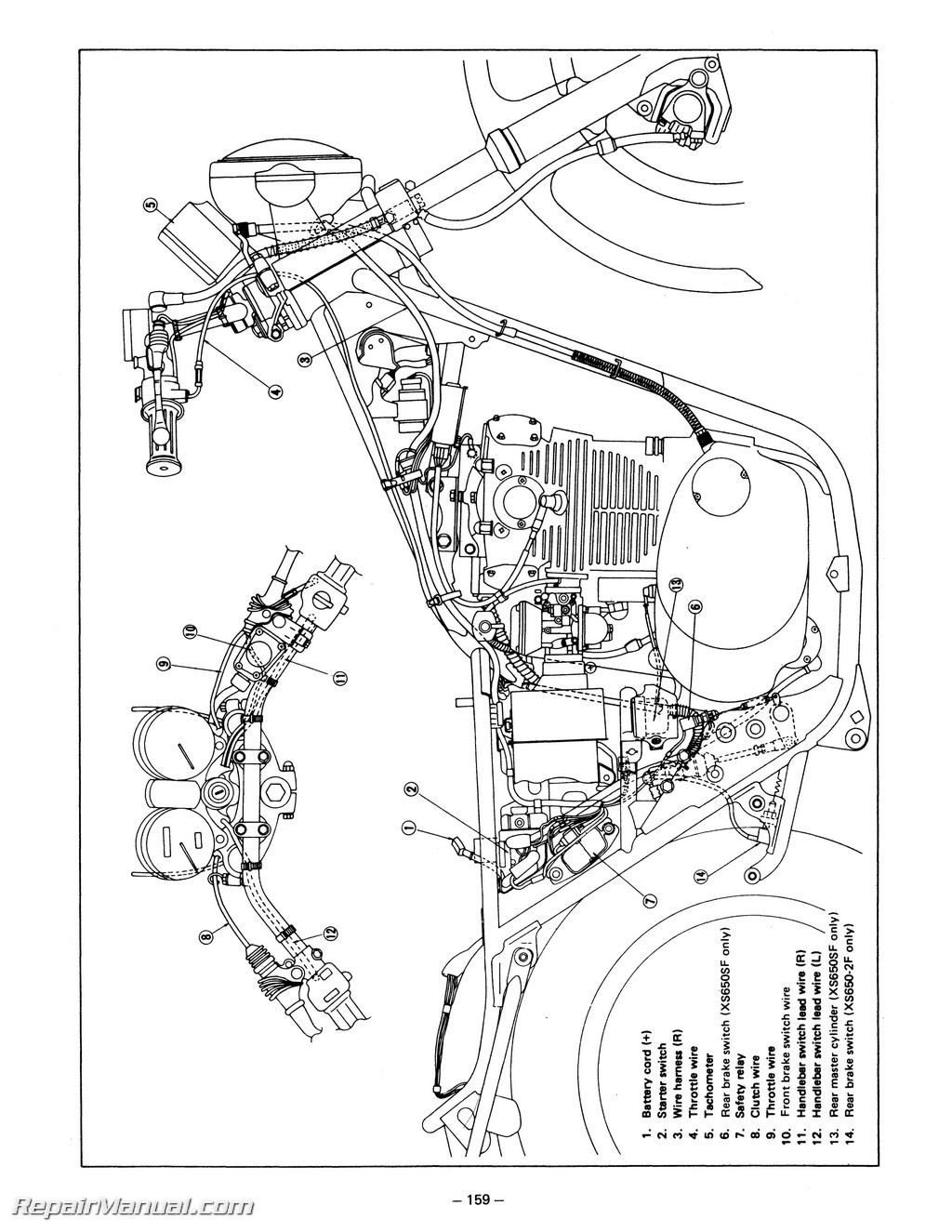 1978 1981 yamaha xs650 service manual rh repairmanual master cylinder diagram how works chevy master