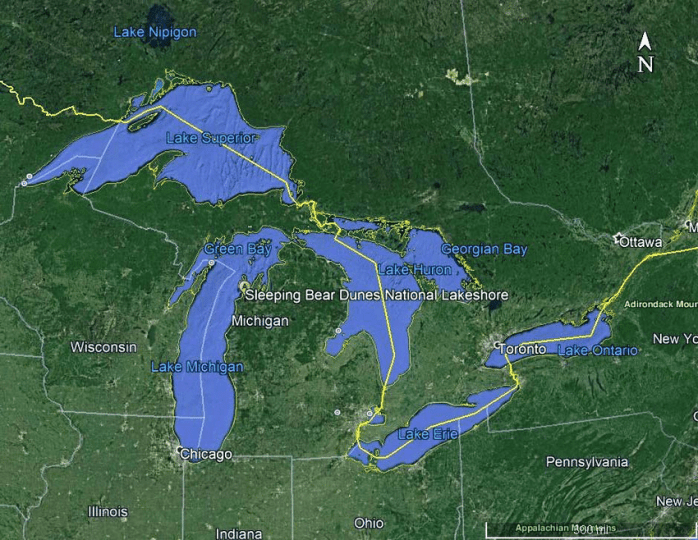 Google map of the state of Michigan and surrounding states in the     Google map of the state of Michigan and surrounding states in the USA       Download Scientific Diagram