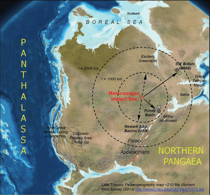 Late Triassic  210 Ma  paleogeographic map showing the Manicouagan     Late Triassic  210 Ma  paleogeographic map showing the Manicouagan impact  crater location in relation to key North American sedimentary basins