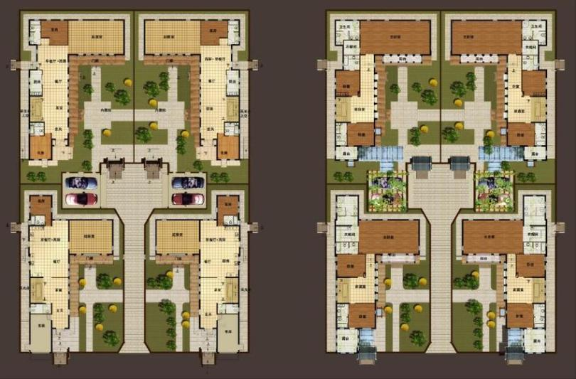 Plans of Beijing Guantang courtyard garden villas  presenting the     Plans of Beijing Guantang courtyard garden villas  presenting the courtyards gardens  and Western interior