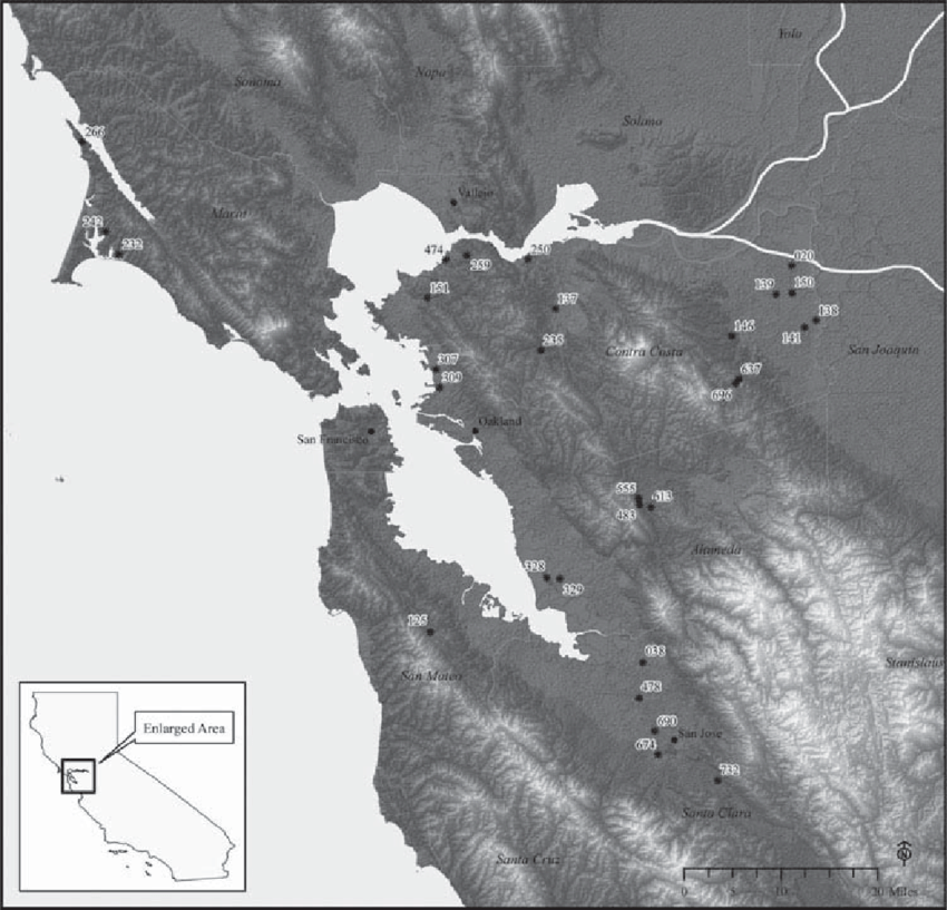 Map of the San Francisco Bay Area showing the 30 archaeological     Map of the San Francisco Bay Area showing the 30 archaeological sites used  in the current